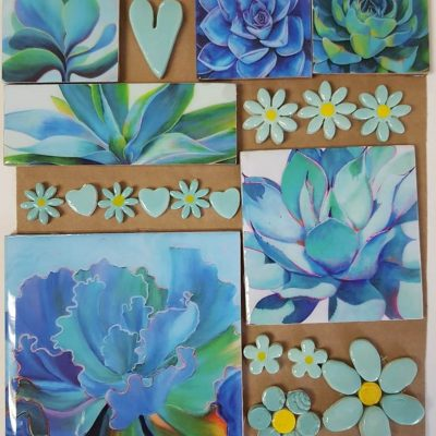 Combo Cards Blue Succulent Large